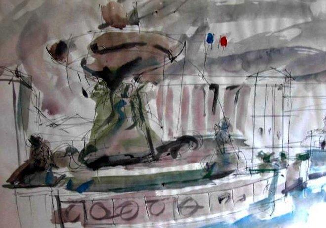 Place Concorde, 1996 Aquarelle 410 x 310 mm